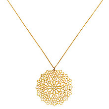 Buy Finesse Gold Plated Flower Pendant Necklace, Gold Online at johnlewis.com