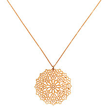 Buy Finesse Gold Plated Long Flower Pendant Necklace, Rose Gold Online at johnlewis.com