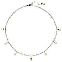 Buy Finesse Faux Pearl Flower Top Chain Necklace, Silver Online at johnlewis.com