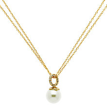 Buy Finesse Gold Plated Crystal Faux Pearl Pendant Necklace, Gold Online at johnlewis.com