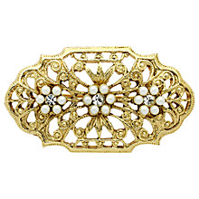 Buy Downton Abbey Gold Plated Faux Pearl Crystal Brooch, Gold Online at johnlewis.com