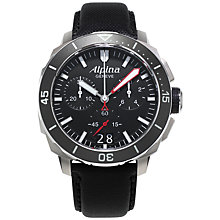 Buy Alpina AL-372LBG4V6 Men's Seastrong Diver 300 Stainless Steel Rubber Strap Watch, Black Online at johnlewis.com