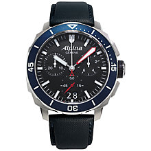 Buy Alpina AL-372LBG4V6 Men's Seastrong Diver 300 Stainless Steel Rubber Strap Watch, Blue Online at johnlewis.com