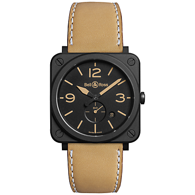 Bell & Ross BRS-HERI-CEM Unisex Ceramic Leather Strap Watch, Brown/Black