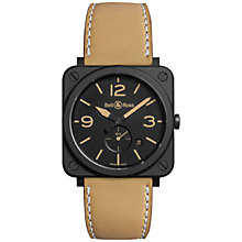 Buy Bell & Ross BRS-HERI-CEM Unisex Ceramic Leather Strap Watch, Brown/Black Online at johnlewis.com