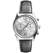 Buy Bell & Ross BRG126-WH-ST/SCR Men's Alligator Strap Watch, Grey Online at johnlewis.com