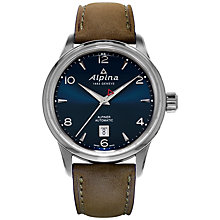 Buy Alpina AL-525N4E6 Men's Automatic Stainless Steel Leather Strap Watch, Brown Online at johnlewis.com