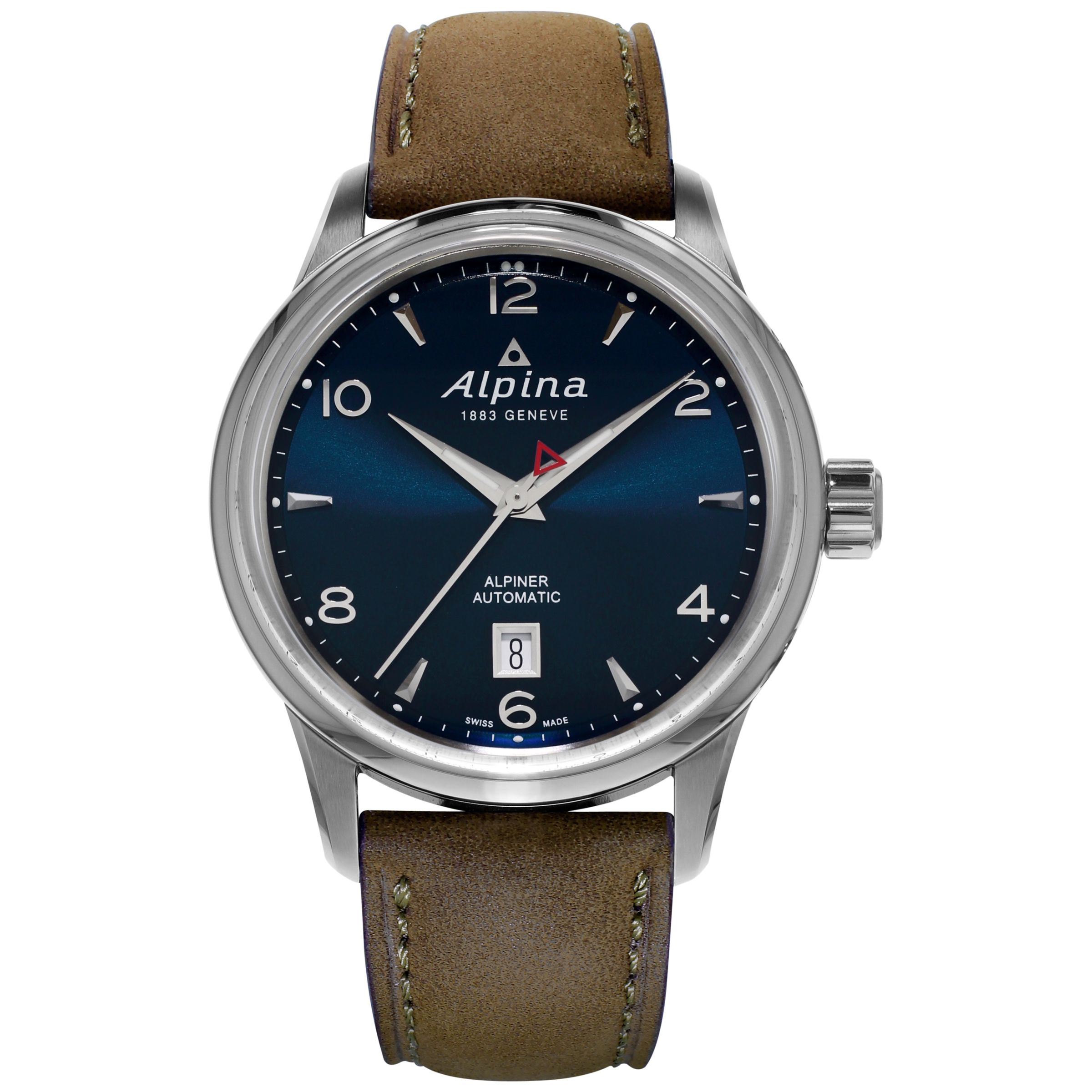 Alpina Alpina AL-525N4E6 Men's Automatic Stainless Steel Leather Strap Watch, Brown/Blue