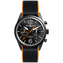 Buy Bell & Ross BRV126-O-CA Men's Stainless Steel Velcro Strap Watch, Black Online at johnlewis.com