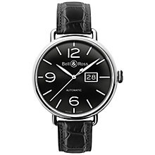 Buy Bell & Ross BRWW196-BL-ST/SCR Men's Leather Strap Watch, Black Online at johnlewis.com