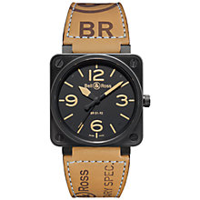 Buy Bell & Ross BR0192-Heritage Men's Leather Strap Watch, Tan Online at johnlewis.com