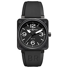 Buy Bell & Ross BR0192-BL-CA Men's Rubber Strap Watch, Black Online at johnlewis.com