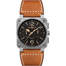 Buy Bell & Ross BR0394-ST-G-HE/SCA Men's Golden Heritage Chronograph Leather Strap Watch, Brown/Black Online at johnlewis.com