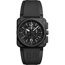 Buy Bell & Ross BR0394-BL-CE Men's Rubber Strap Watch, Black Online at johnlewis.com