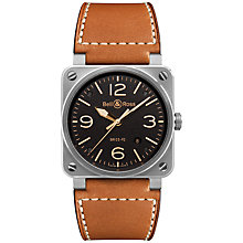 Buy Bell & Ross BR0392-ST-G-HE/SCA Men's Golden Heritage Leather Strap Watch, Tan/Black Online at johnlewis.com