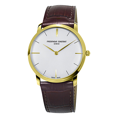 Frédérique Constant FC-200V5S35 Men's Leather Strap Watch, Brown/White