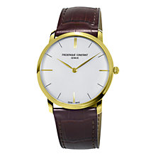 Buy Frédérique Constant FC-200V5S35 Men's Leather Strap Watch, Brown/White Online at johnlewis.com