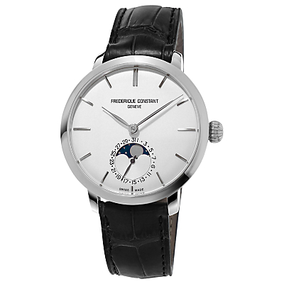 Frédérique Constant FC-703S3S6 Men's Alligator Leather Strap Watch, Black/White