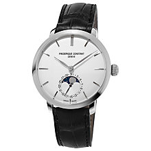 Buy Frédérique Constant FC-703S3S6 Men's Alligator Leather Strap Watch, Black/White Online at johnlewis.com