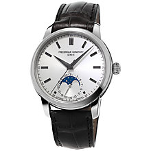 Buy Frédérique Constant FC-715S4H6 Men's Classic Moonphase Leather Strap Watch, Black Online at johnlewis.com