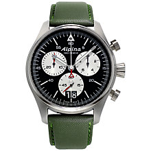 Buy Alpina AL-372BS4S6 Men's Startimer Pilot Stainless Steel Leather Strap Watch, Green Online at johnlewis.com