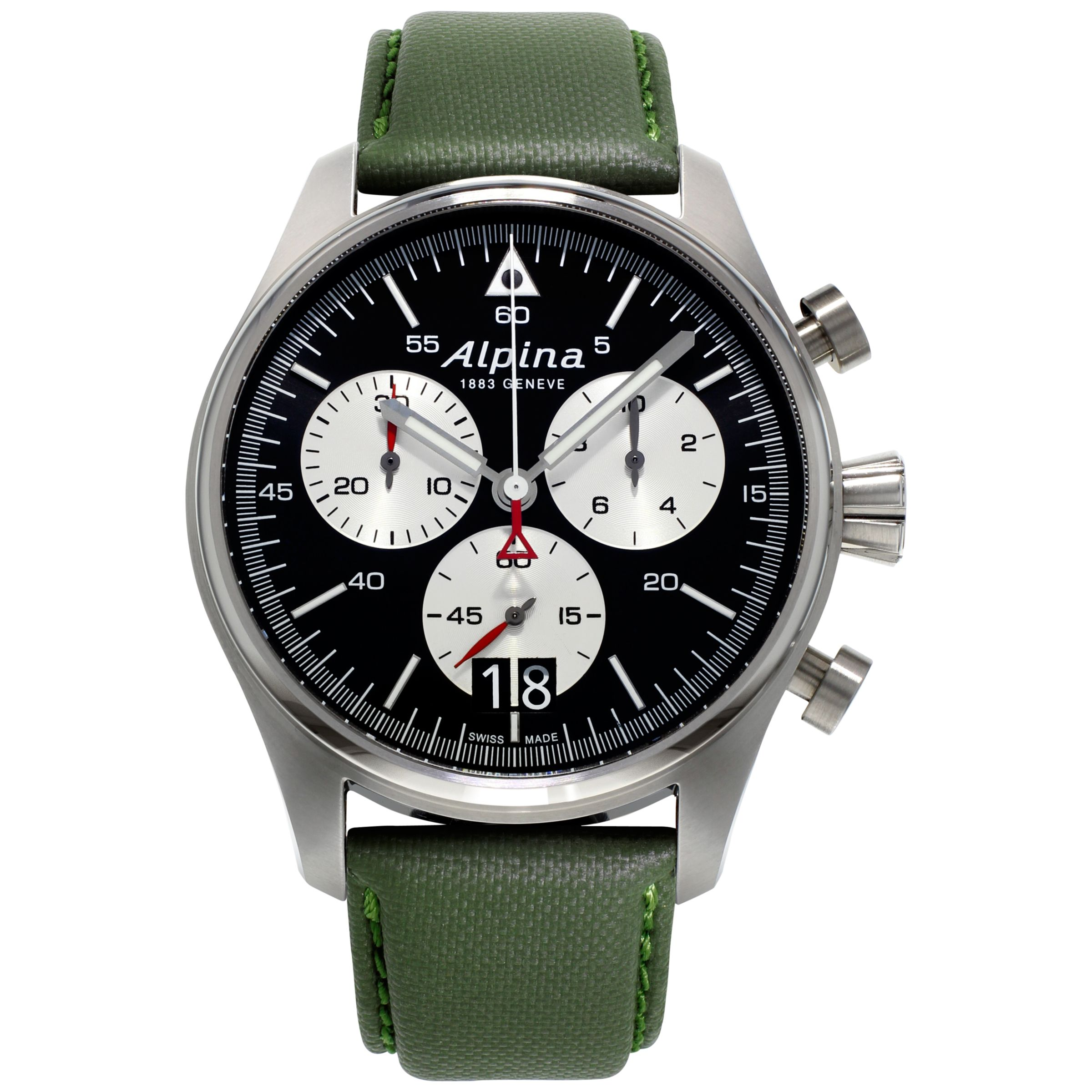 Alpina Alpina AL-372BS4S6 Men's Startimer Pilot Stainless Steel Leather Strap Watch, Green/Black