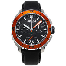 Buy Alpina AL-372LBO4V6 Men's Seastrong Diver Black Leather Strap Watch, Black/Orange Online at johnlewis.com