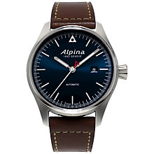Buy Alpina AL-525N4S6 Men's Stainless Steel Black Leather Strap Watch, Black Online at johnlewis.com