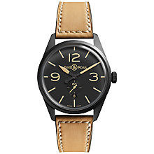 Buy Bell & Ross BREV123-Heritage Men's Vintage Original Leather Strap Watch, Brown Online at johnlewis.com