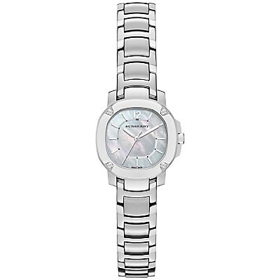 Burberry BBY1901 Women's The Britain Mother of Pearl Stainless Steel Bracelet Strap Watch, Silver