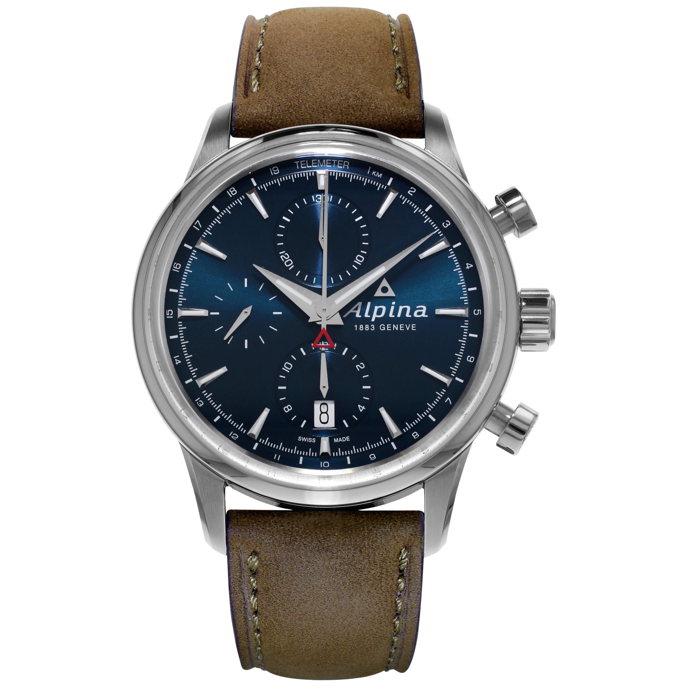 Alpina Alpina AL-750N4E6 Men's Automatic Chronogrpah Stainless Steel Leather Strap Watch, Brown/Blue