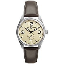 Buy Bell & Ross BRV123-BEI-ST/SCA Men's Vintage Original Automatic Leather Strap Watch, Brown Online at johnlewis.com