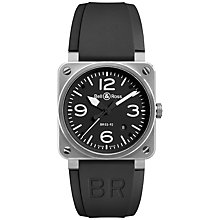 Buy Bell & Ross Br0392-bl-st Men's Rubber Strap Watch, Black Online at johnlewis.com