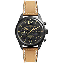 Buy Bell & Ross BRV126-Heritage Men's Automatic Stainless Steel Leather Strap Watch, Tan Online at johnlewis.com