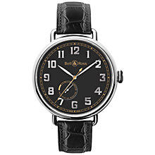 Buy Bell & Ross BRWW197-HER-ST/SCR Men's Heritage Automatic Leather Strap Watch, Black Online at johnlewis.com