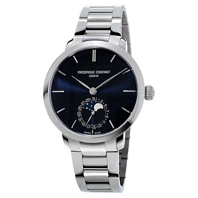 Frédérique Constant FC-703N3S6B Men's Manufacture Slimline Moonphase Stainless Steel Bracelet Strap Watch, Silver/Black