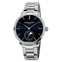 Buy Frédérique Constant FC-703N3S6B Men's Manufacture Slimline Moonphase Stainless Steel Bracelet Strap Watch, Silver/Black Online at johnlewis.com