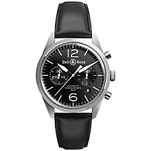 Buy Bell & Ross BRV126-BL-ST/SCA Men's Stainless Steel Leather Strap Watch, Black Online at johnlewis.com