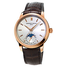 Buy Frédérique Constant FC-715V4H4 Men's Classic Moonphase Alligator Strap Watch, Brown/White Online at johnlewis.com