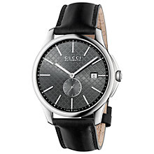 Buy Gucci YA126319 Men's G-Timless Automatic Leather Strap Watch, Black Online at johnlewis.com