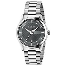 Buy Gucci YA126441 Men's Stainless Steel Bracelet Strap Watch, Silver/Anthracite Online at johnlewis.com