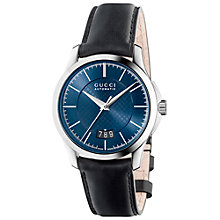 Buy Gucci YA126443 Men's G-Timeless Leather Strap Watch, Black/Blue Online at johnlewis.com