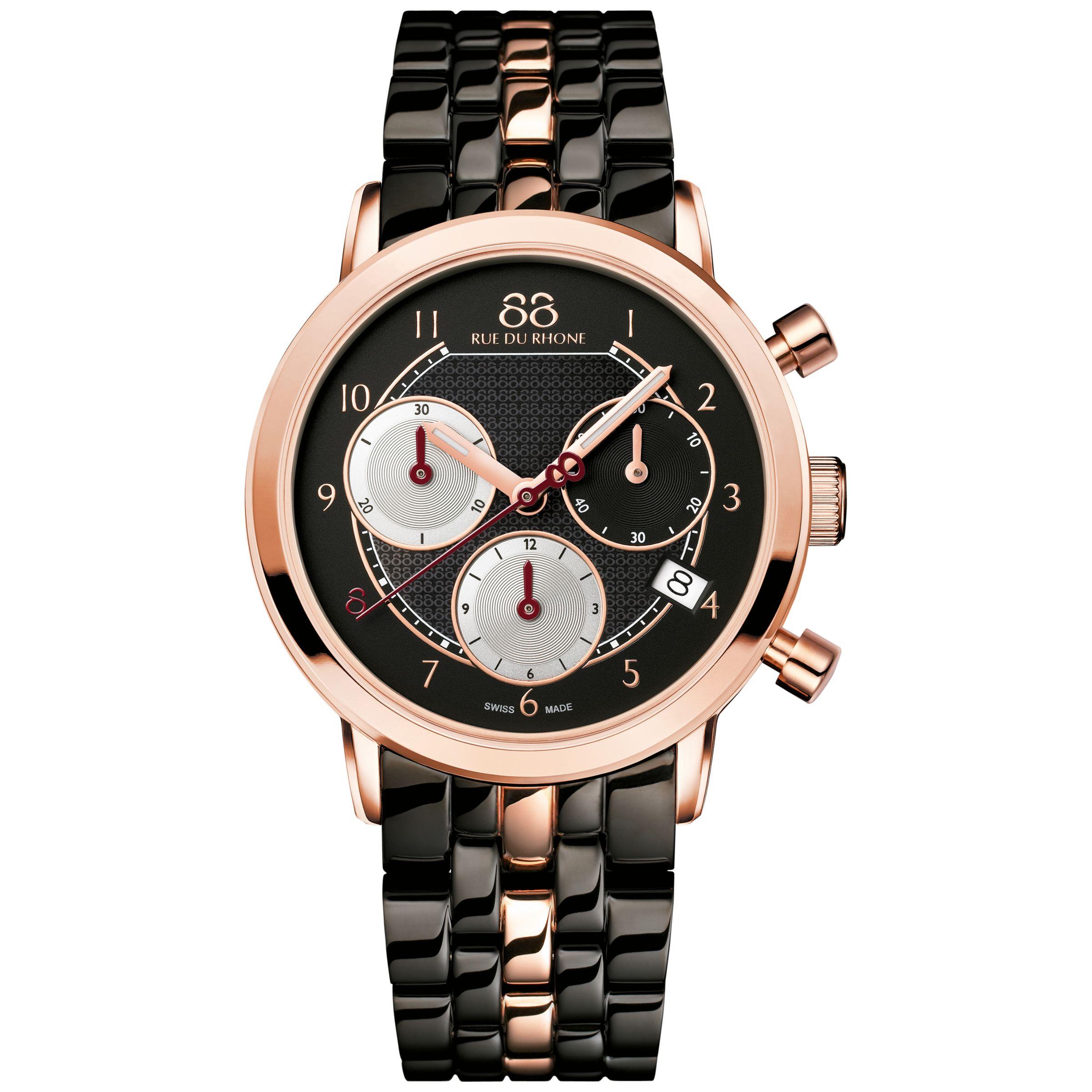 88 Rue Du Rhone 88 Rue Du Rhone 87WA143507 Women's Double 8 Origin Chronograph Date Bracelet Strap Watch, Black