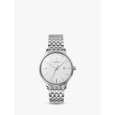 Junghans 047/4372.44 Women's Meister Ladies Stainless Steel Bracelet Strap Watch, Silver/White