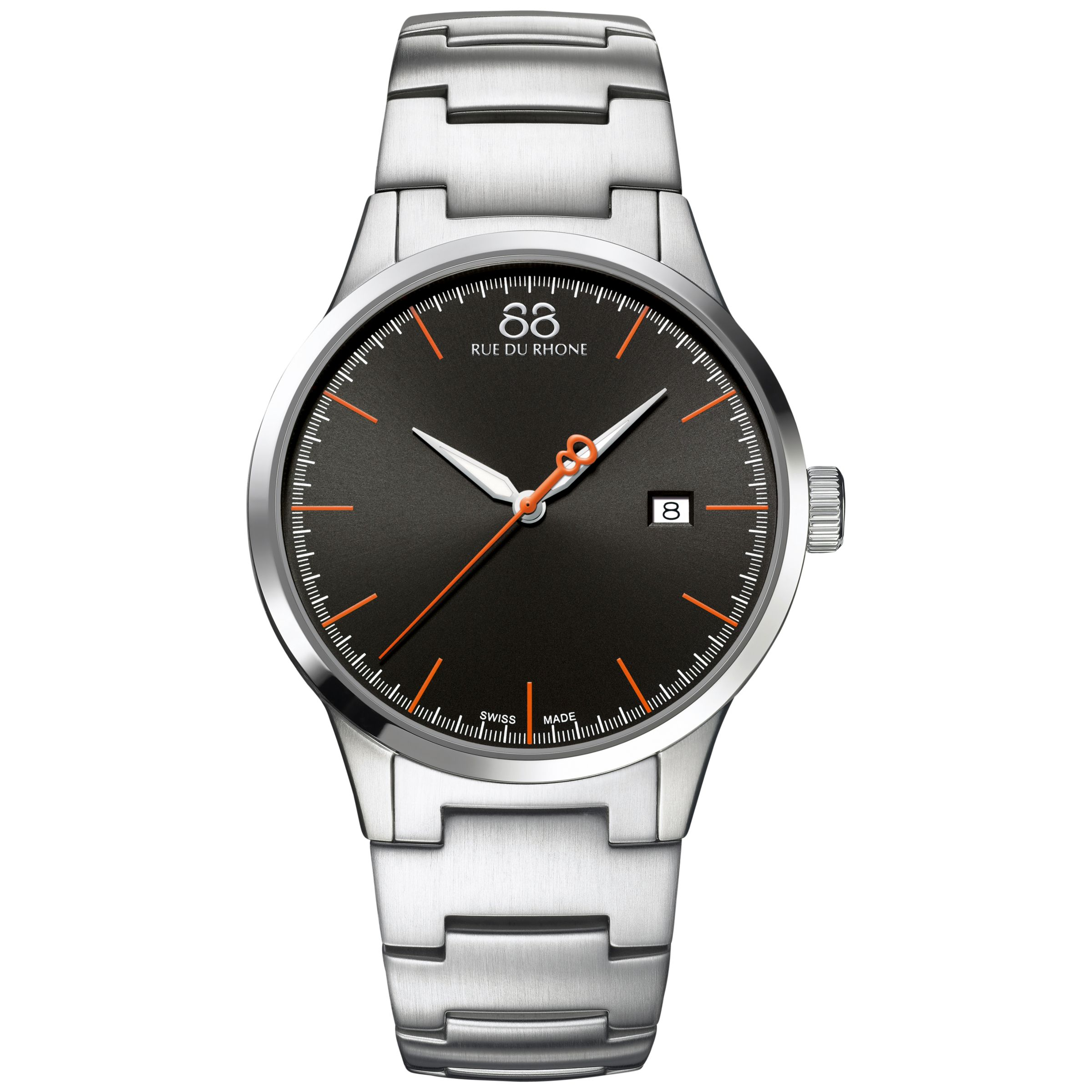 88 Rue Du Rhone 88 Rue Du Rhone 87WA154103 Men's Rive Stainless Steel Bracelet Strap Watch, Silver/Black