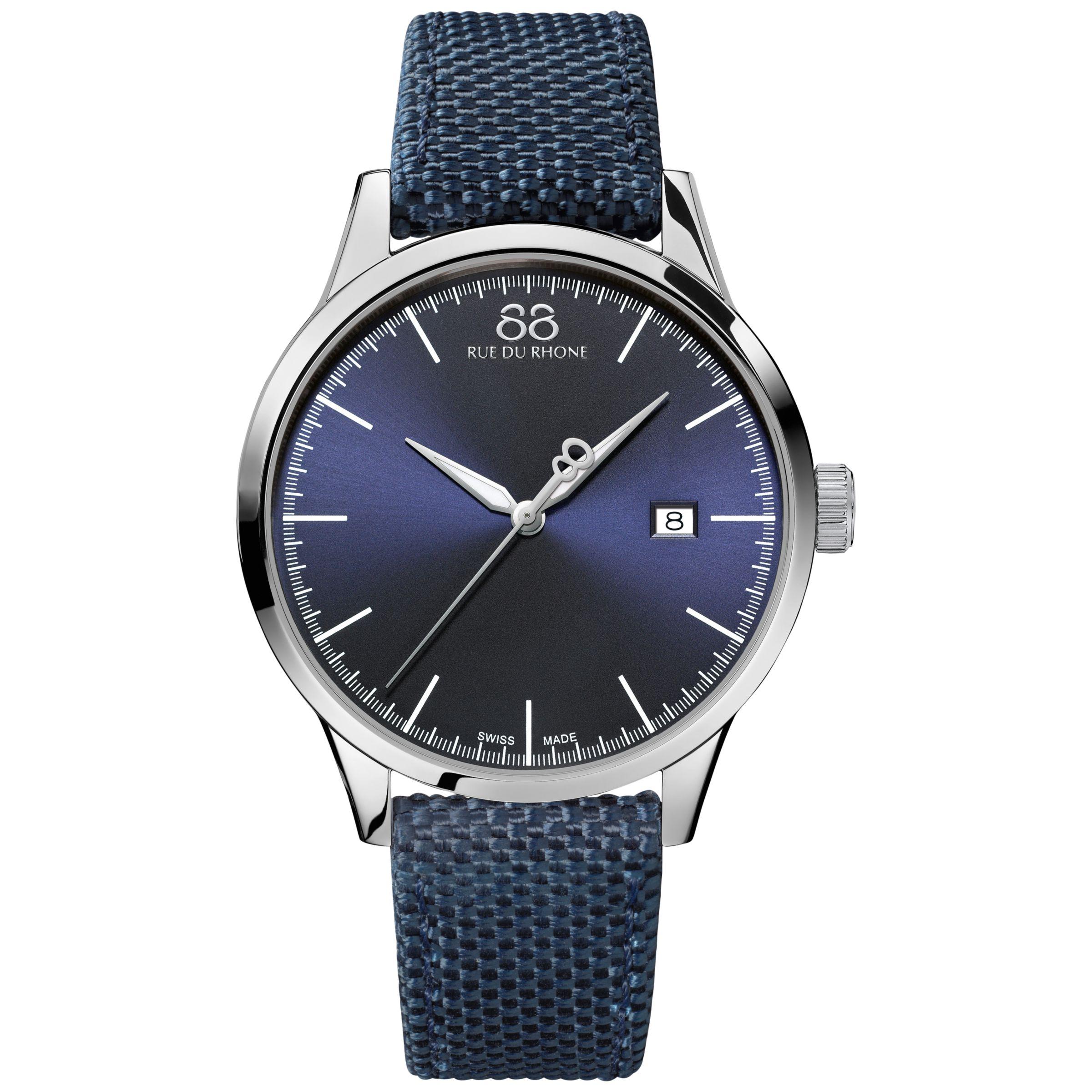 88 Rue Du Rhone 88 Rue Du Rhone 87WA154107 Men's Rive Nato Fabric Strap Watch, Navy