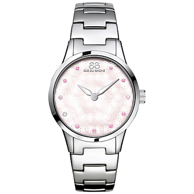 88 Rue Du Rhone 87WA153203 Women's Rive Pink Sapphire and Diamond Filigree Dial Bracelet Strap Watch, Silver/Mother of Pearl