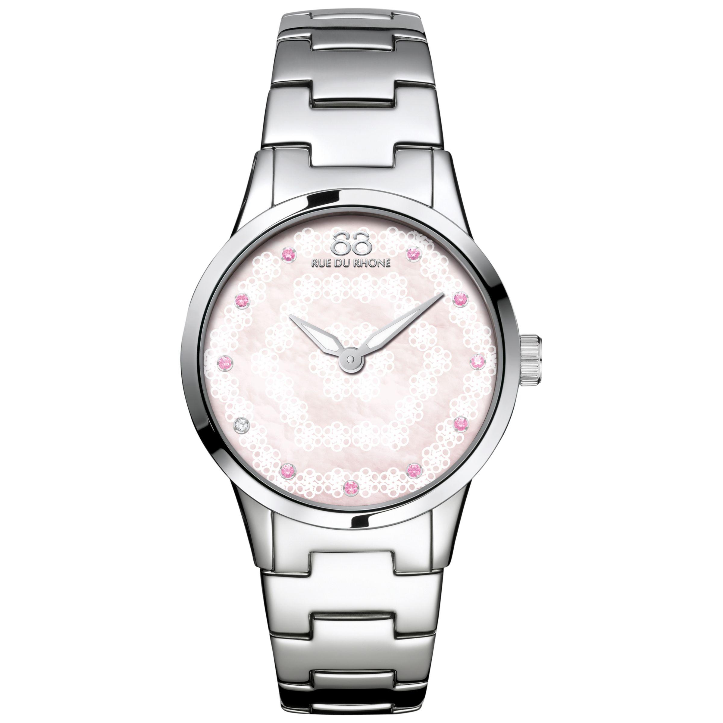 88 Rue Du Rhone 88 Rue Du Rhone 87WA153203 Women's Rive Pink Sapphire and Diamond Filigree Dial Bracelet Strap Watch, Silver/Mother of Pearl