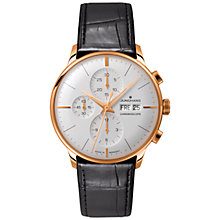 Buy Junghans 027/7323.01 Men's Black Alligator Strap Watch, Black Online at johnlewis.com