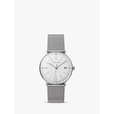Junghans 047/4250 Women's Max Bill Damen Stainless Steel Bracelet Strap Watch, Silver/White